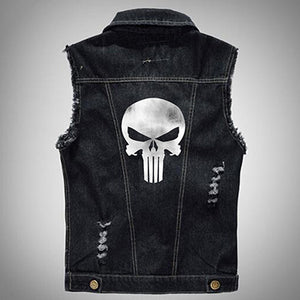 Digital Camou Vintage Pattern The Punisher Male Denim Vest Men Sleeve Jeans Jacket Plus Size 5Xl 6Xl
