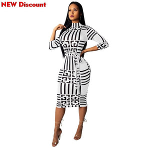 Dress To The Knee Women Stand Neck Wrist Sleeve Striped Print Sashes Party Bodycon Midi Dress Vestidos Dress Woman