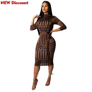 Dress To The Knee Women Stand Neck Wrist Sleeve Striped Print Sashes Party Bodycon Midi Dress Vestidos Dress Woman Sukienka
