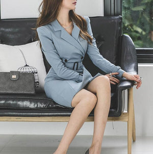 Dress Suits Women Long Blazer Jacket Double Breasted Slim Bodycon Office Lady Autumn Winter Vintage Clothes