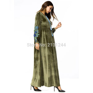 Maxi Dress Abaya Velvet Embroidery Flower Winter Muslim Long Sleeve Robe Gowns Middle East Moroccan Islamic Clothing