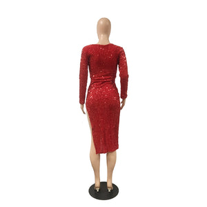 Red Sequins Midi Dress Women V Neck Long Sleeve Side Slit Club Party Dress Shining Christmas Dresses Vestidos