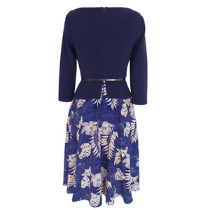 Church Dresses Casual 34 Sleeve Patchwork Printed Peplum Dress Sukienka Vetement Femme Fashion Frocks