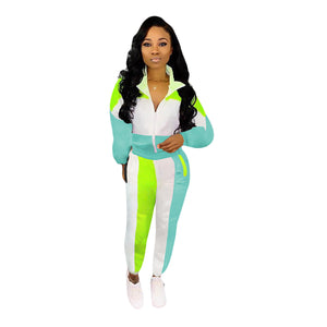 Fall Winter Women's Set Tracksuit Full Sleeve Patchwork Top Pants Suit Two Piece Set Casual Sportswear Night Club Overall GL3717