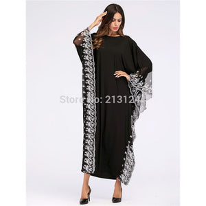Fashion Adult Lace Embroidered Robe Dress Muslim Turkish Dubai Abaya Musulman Arab Worship Service