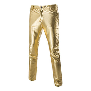 Fashion Gold Tight Silver Skinny Attractive Trousers Straight Man Pants Nightclub Costumes Dancer Singers Male
