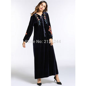 Fashion Women'S Maxi Dress Embroidery Velvet Winter Abaya Warm Robe Gowns Loose Style Muslim Middle East Arab Islamic Clothing