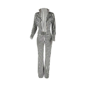 Fashion Pant Suit Two Piece Set Single Button Striped Blazer Jacket Top Wide Leg Pant Ladies Leisure Trouser Suits