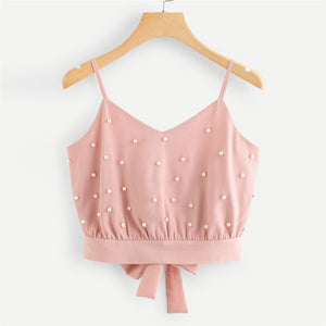 Fashion Vest Chiffon Camisole Sleeveless Tops Solid Pearl Tank Top Crop Beading Beading Short Camis #0103 A2#
