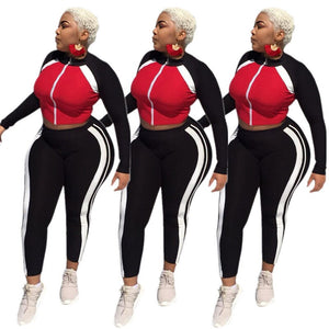 Fashion Workout Sweat Suits 2 Piece Set Women Zipper Jacket Crop Top Pants Set Sportwear Matching Outfits Tracksuit Women