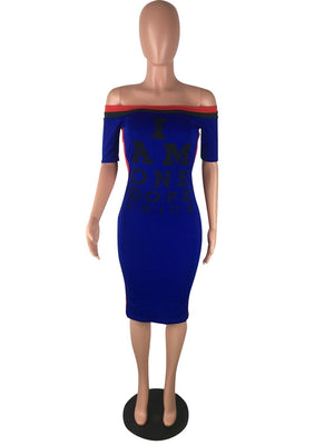 Fashion Yellow Bandage Dress Bodycon Striped Mini Dress Club Wear Slash Neck Women Letter Print Midi Dress Top BlueWhite