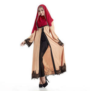 Plus Size Maxi Dress Turkish Kaftan Cardigan Muslim Traditional Abaya Lace Ramadan Islamic Abaya Dress