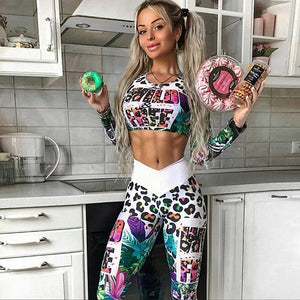 Print Yoga Set Fitness Women Sports Running Suit Gym Wear Leggings T-Shirts Winter Workout Elastic Quick Dry Yoga Sets