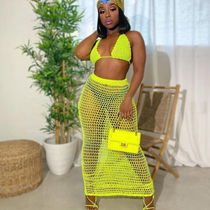 Fishnet Knitted Two Piece Set Women Sexy See Through Night Club Suits Bra Top Long Skirt Casual Beach Outfits Summer