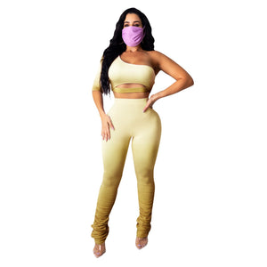 Fitness 2 Piece Set Women Outfits Crop Top Skinny Pants Suit 2020 Summer Gradient Tracksuit Streetwear
