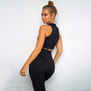 Fitness Suit Women 2020 Gym Clothing Dry Fit Yoga Set Sportswear Woman Workout Clothes Vest Legging Kit Black Red Green