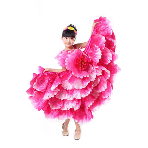Floral Decoration Plus Size Wedding Kids Tutu Dress Gypsy Spanish Flamenco Shoulder Off Dress Latin Dance Costumes