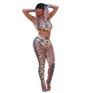 Front Lace Up Sexy 2 Piece Set Women Print Crop Top Hollow Out Skinny Pants Suit Club Matching Sets Nightclub Party Outfits