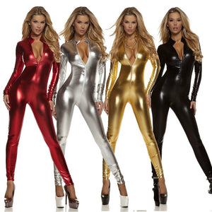 Front Zip Catsuits Long Sleeve Black Catsuit Spandex Lycra Bodysuits Shiny Metallic Unitard Dancewear Zentai Suit S3Xl