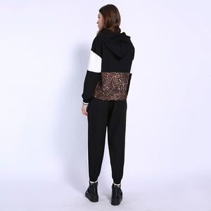 Gcarol Fall Women 2 Pieces Sets Leopard Spliced Sweatshirt Ankle Length Harm Pants Women Tracksuits Hoodies Outfiits