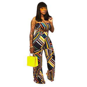 Geometic Print Sexy Two Piece Set Summer Outfits Strapless Crop Top Pants Set Club Party Matching 2 Piece Set Women Jumpsuit