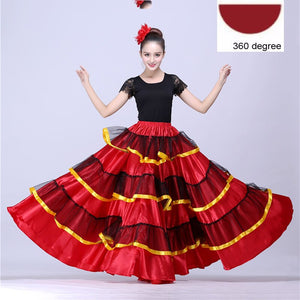 Plus Size Big Spanish Flamenco Skirt Dance Costumes Stage Wear Performance Party Red Skirt Clothing