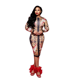 Gold Chain Floral Print Women Bodycon Dress Long Sleeve Package Hip Club Party Dresses Casual Work Office Midi Dress