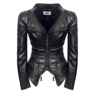Gothic Faux Leather Pu Jacket Women Winter Autumn Fashion Motorcycle Jacket Black Leather Coats Outerwear Coat Plus Size