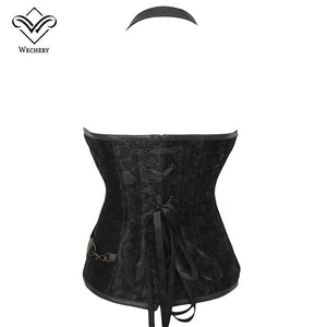 Gothic Steampunk Corset Corselete Women'S Corsets Plus Size Corsage Bodice Plus Szie Straitjacket Leather Steel Boned Bustier