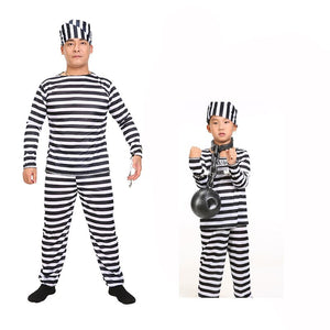 Halloween Party Clothes Carnival Cosplay Adult Children Prisoner Costumes Strip Black Color Clothing Men Boy