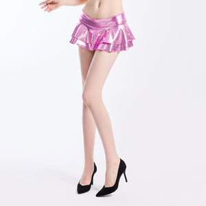 Harajuku Holographic Laser Skirts Pu Leather Skirt High Waist Pleated Mini Skirts Rave Festival Clothing Shows