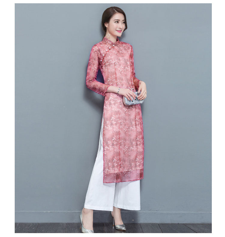 Woman Chiffon Aodai Vietnam Traditional Clothing Ao Dai Vietnam Robes Pants 2 Piece Set Women Dresses Improved Cheongsam