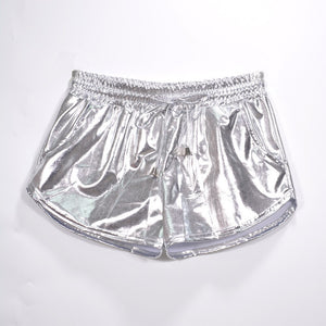 Holographic Casual Shorts Laser Rave Festival Clothes High Waist Shorts Elastic Shorts With Pockets Show Party Short