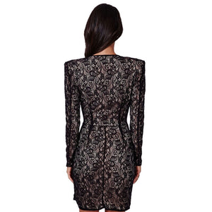 Black Eyelash Lace Wrap Over Office Dresses Long Sleeve Winter Short Mini Dress Mulheres De Vestido S1309
