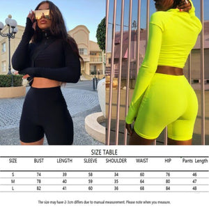 Women Fashion Tracksuits Long Sleeves Crop Sweatshirt Top Jogging Short Pants Sports Outfit Set Casual Set