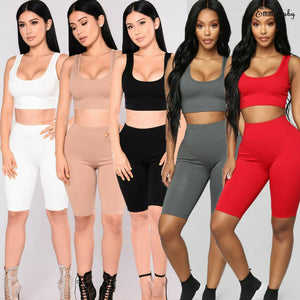 Women's Casual 2 Pieces Bodycon Outfit Solid Color Tank Top High Waisted Shorts Pants Sets 5 Colors