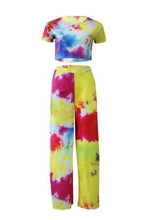 Summer Women Fashion Printed Crop Top Long Wide Leg Pants Set Outfits Party Club Beach Holiday Casual Set Plus Size