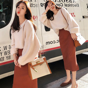 Woman Autumn Knit Two Pieces Suit Solid Casual Sweater Pencil Skirt Sets Winter Warm Knitted Two Pieces Suits Woman