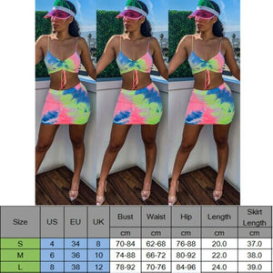 Women Summer Sexy Tank Skirts Two Piece Set Crop Top Skirt Bandage Party Clothes Bodycon Club Beach Fashion Outfits