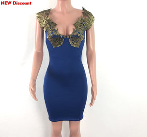Women'S Lace Stamping Pencil Office Dress Woman Patchwork Woman Party Dress Blue Dresses