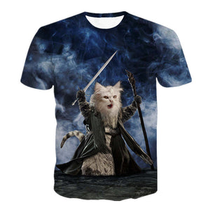 Summer Style Funny TShirt Cat Riding Unicorn 3D Print Animals Short Sleeve T Shirt Casual Outfits Tops Tee Shirt