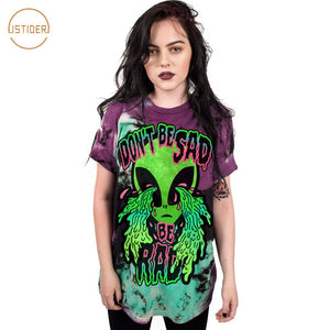 "Weird Design ""Don'T Be Sad"" Crying Alien T Shirt Women Summer Loose Short Sleeve TShirt Unisex Punk Tops"