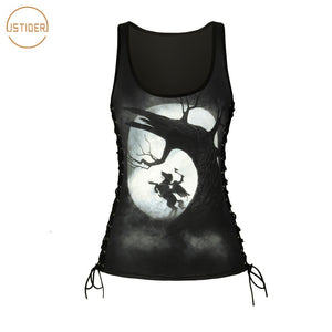 Gothic Halloween Clothes 3D Print Headless Horseman Bandage Tops Women Summer Tank Top Camis Punk Skeleton Blusas