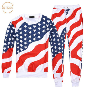 MenWomen American Flag Pattern Print Suits Set Male Hip Hop Joggers ONeck Sweatshirts+Pants Tracksuit Mens Hoodies Set
