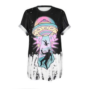 Arrivals 3D Hip Hop Streetwear Cartoon Ufo Take Me With You Funny T Shirts MenWomen Punk Loose TShirt Plus Size