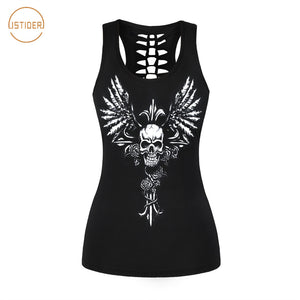 Punk Gothic Rock Style Tank Tops Women Summer Sleeveless Vest Guns N Roses Skull Series Elastic Tops Hollow Out Shirt