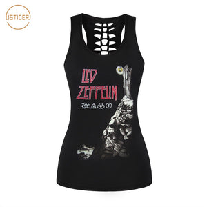 Rock Style Cross Bon Jovi Printing Tops Women Skintight Tank Top 3D Wing Heart Vest Hollow Out Tank Tops Camisole
