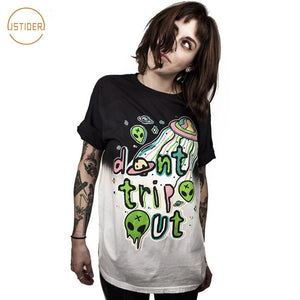 "Summer Rock Roll TShirt Alien Ufo World ""Don'T Trip Out"" Funny Crazy Et Print 3D T Shirt WomenMen Tops Black White"
