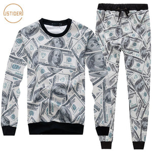 Women Man Tracksuits With Pants 3D Funny Print Usa 100 Dollar Clothing Two Piece Set Crewneck Sweatshirt Pants Hoodies