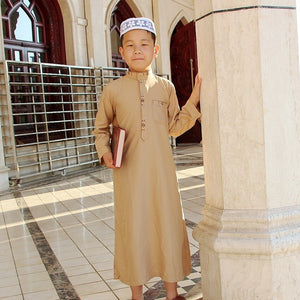 Islamic Boy Jubba Thobe Muslim Clothing Kaftan Arab Abaya Eid Prayer Children Robes Kids Islam Boys Clothes 80170Cm